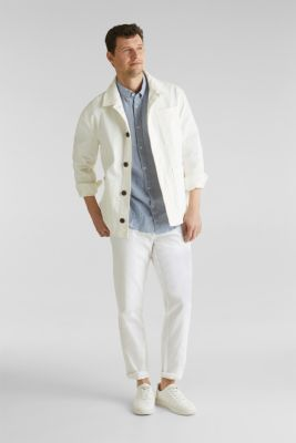 Linen blend: trousers with belt, WHITE, detail