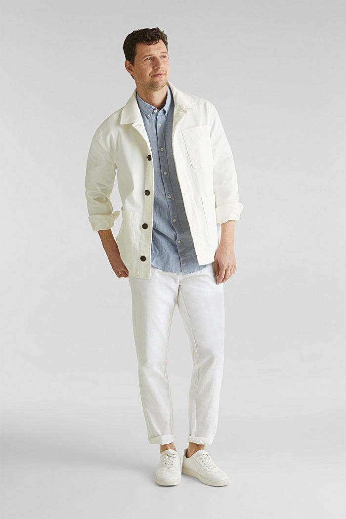 Linen blend: trousers with belt, WHITE, detail image number 1