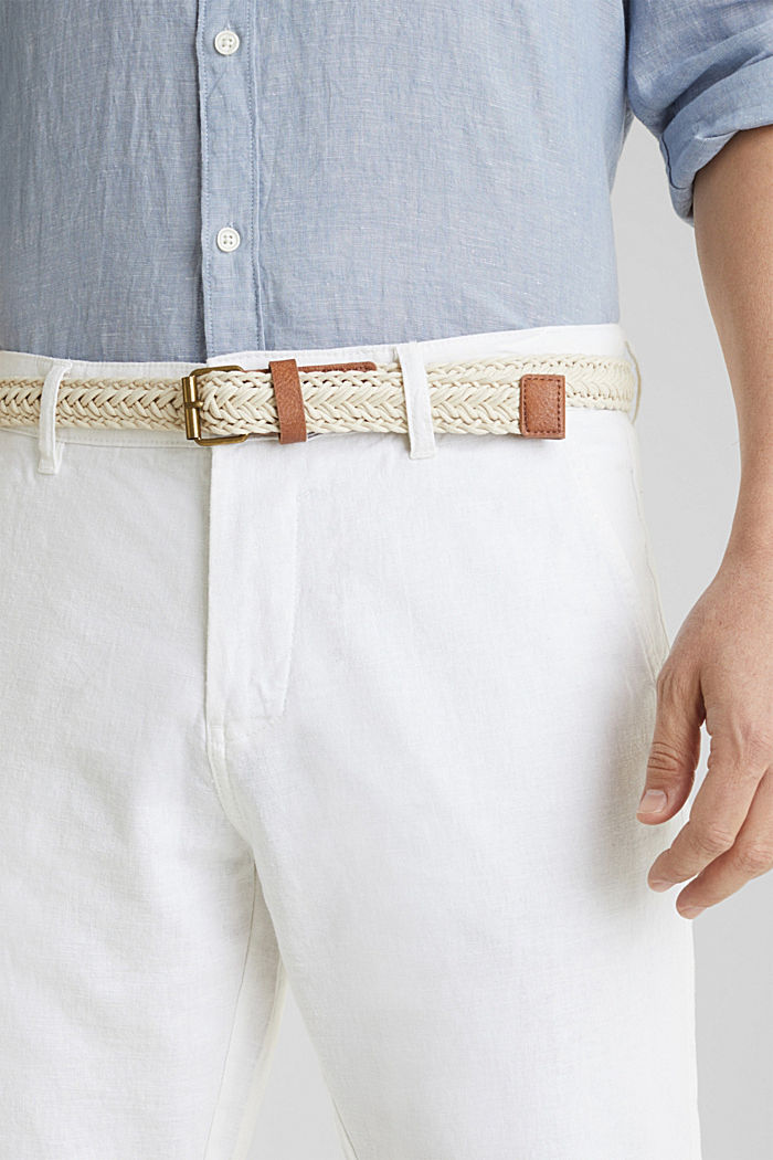 Linen blend: trousers with belt, WHITE, detail image number 2