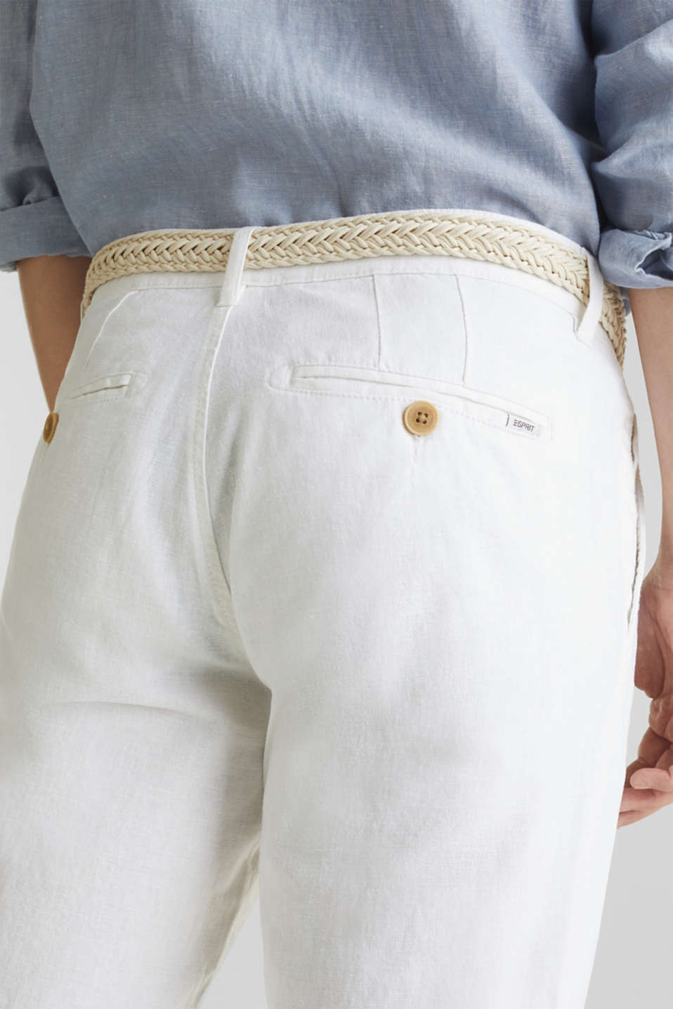 Linen blend: trousers with belt, WHITE, detail image number 5