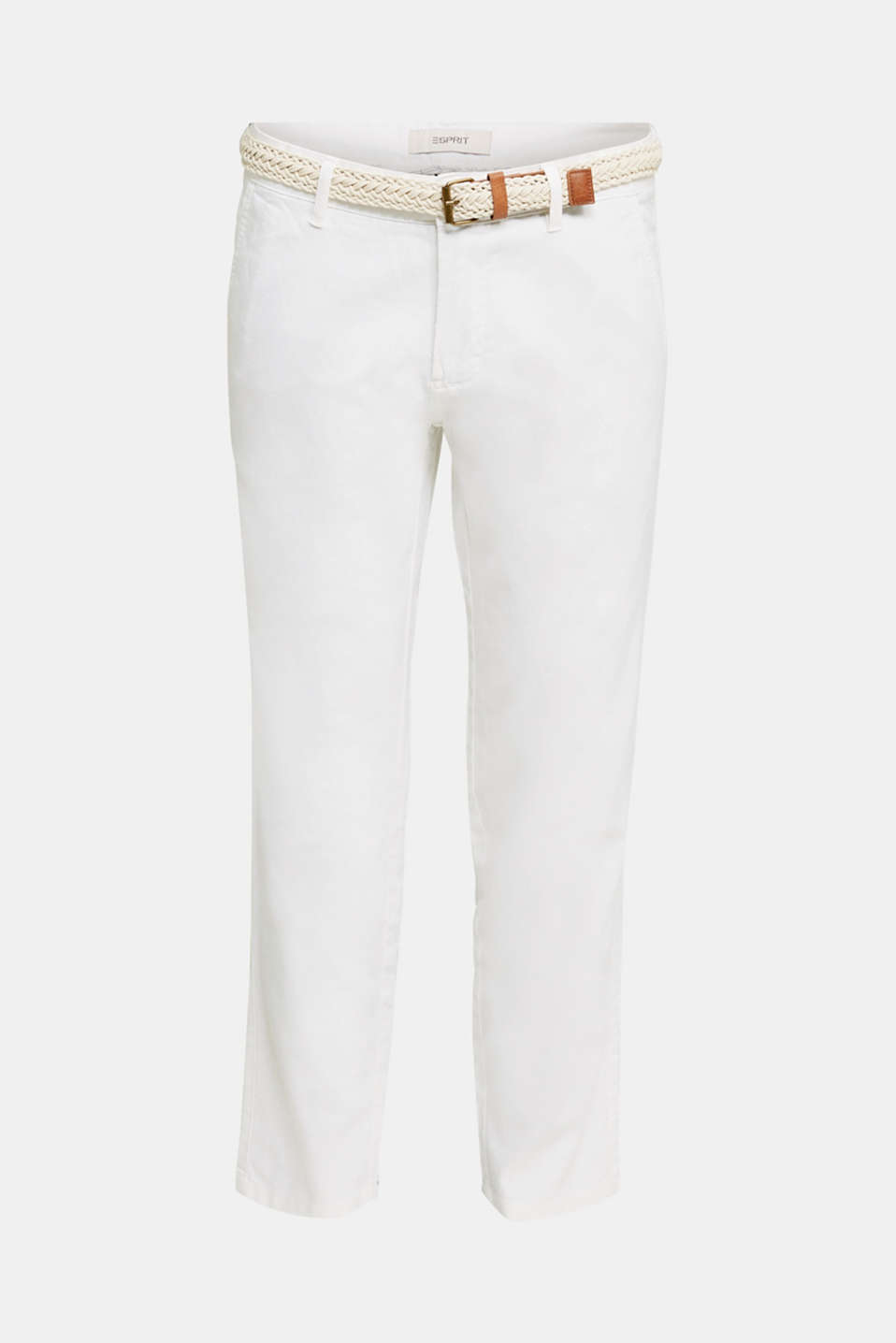 Linen blend: trousers with belt, WHITE, detail image number 6
