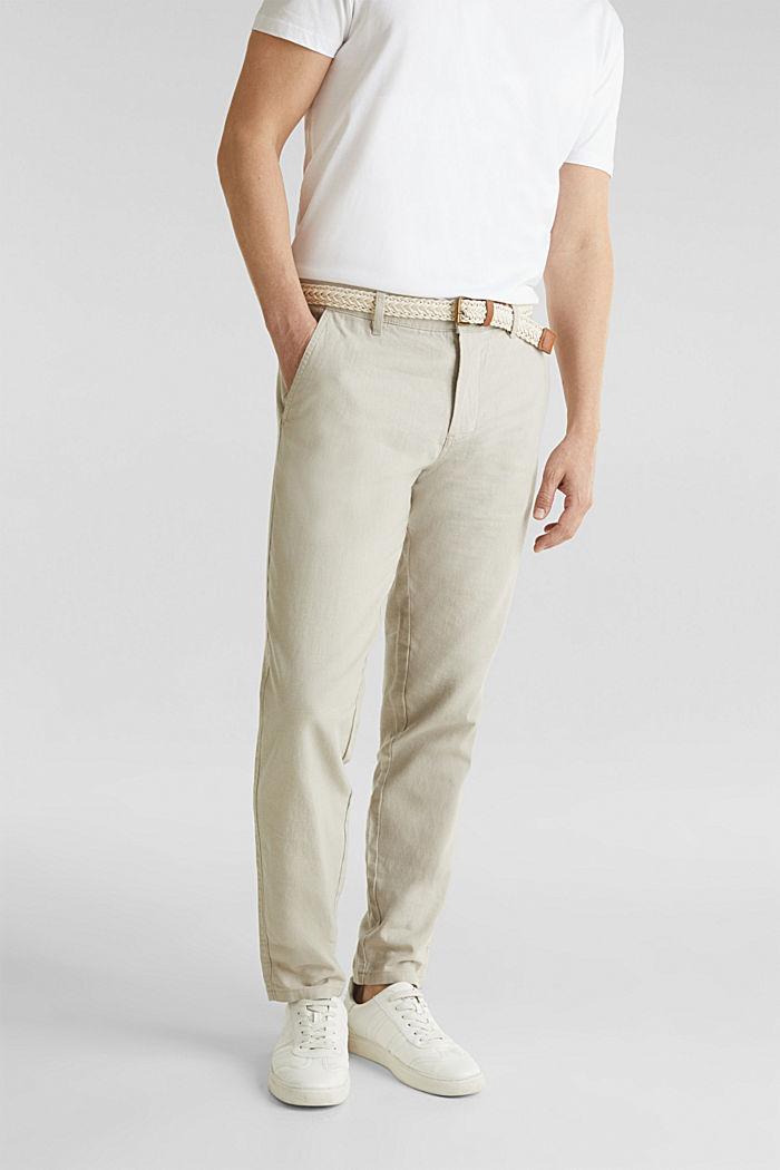 Linen blend: trousers with belt, LIGHT BEIGE, detail image number 0