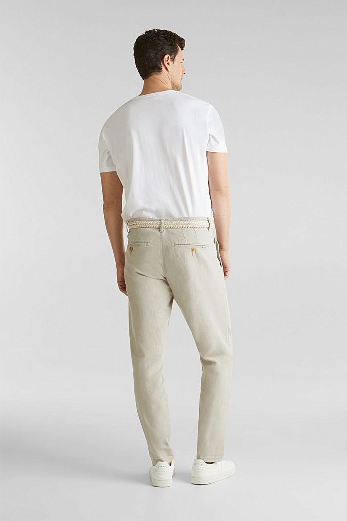 Linen blend: trousers with belt, LIGHT BEIGE, detail image number 3