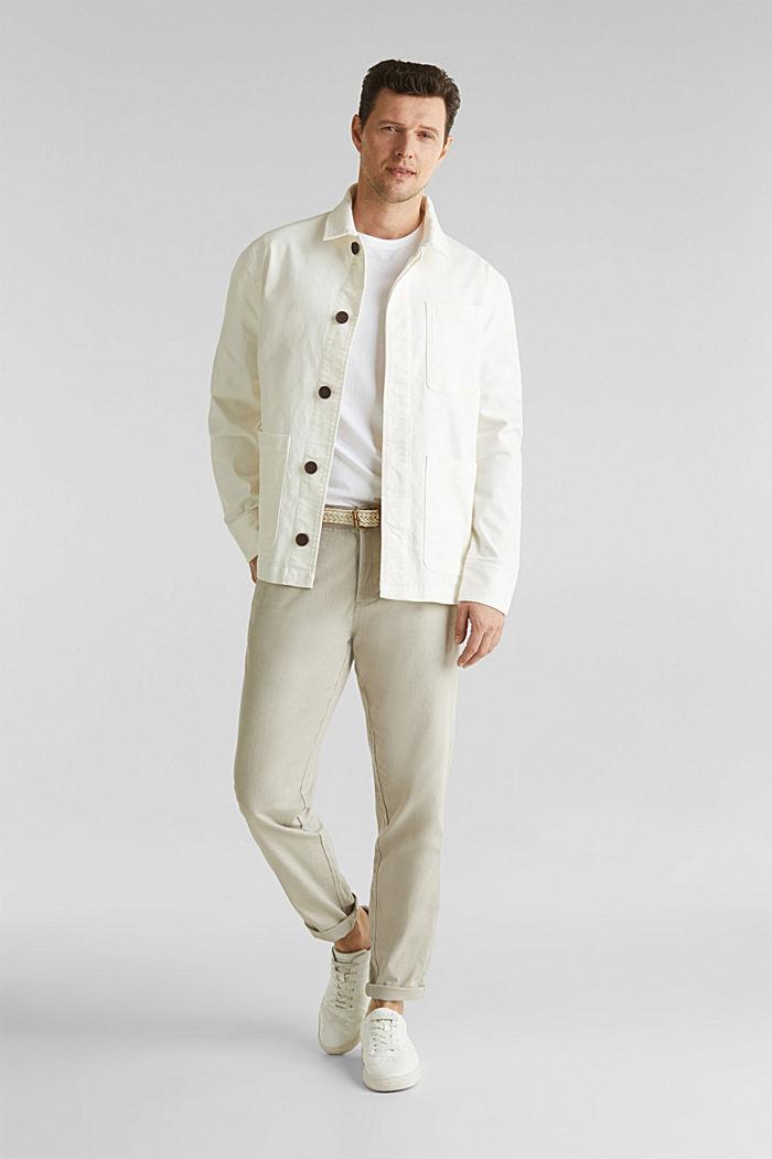Linen blend: trousers with belt, LIGHT BEIGE, detail image number 1