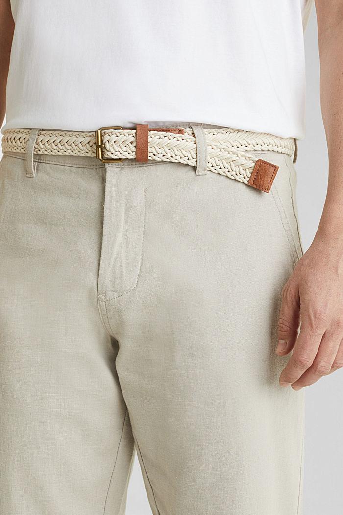 Linen blend: trousers with belt, LIGHT BEIGE, detail image number 2