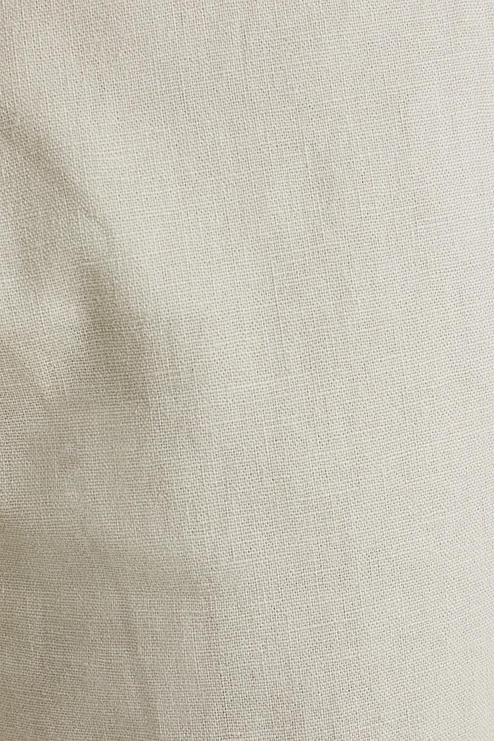 Linen blend: trousers with belt, LIGHT BEIGE, detail image number 4
