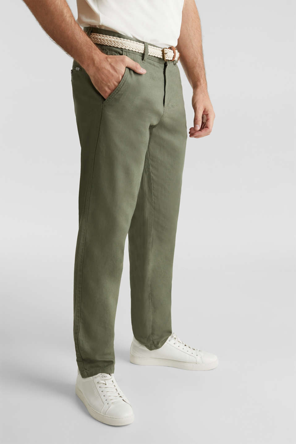 Linen blend: trousers with belt, DUSTY GREEN, detail image number 0