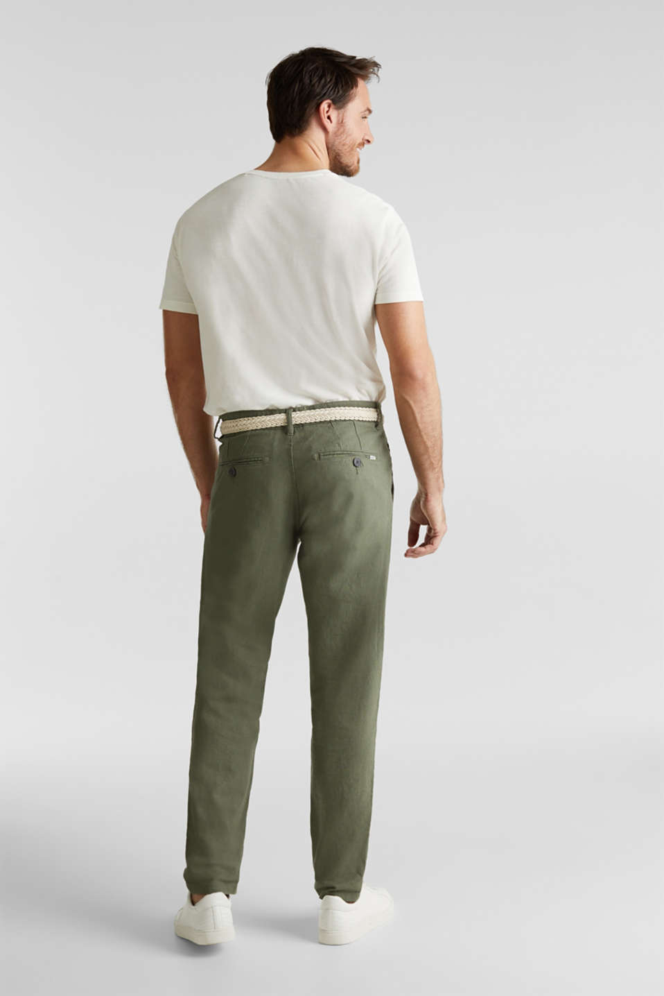 Linen blend: trousers with belt, DUSTY GREEN, detail image number 3