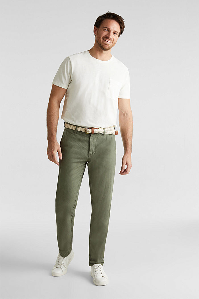 Linen blend: trousers with belt, DUSTY GREEN, detail image number 5