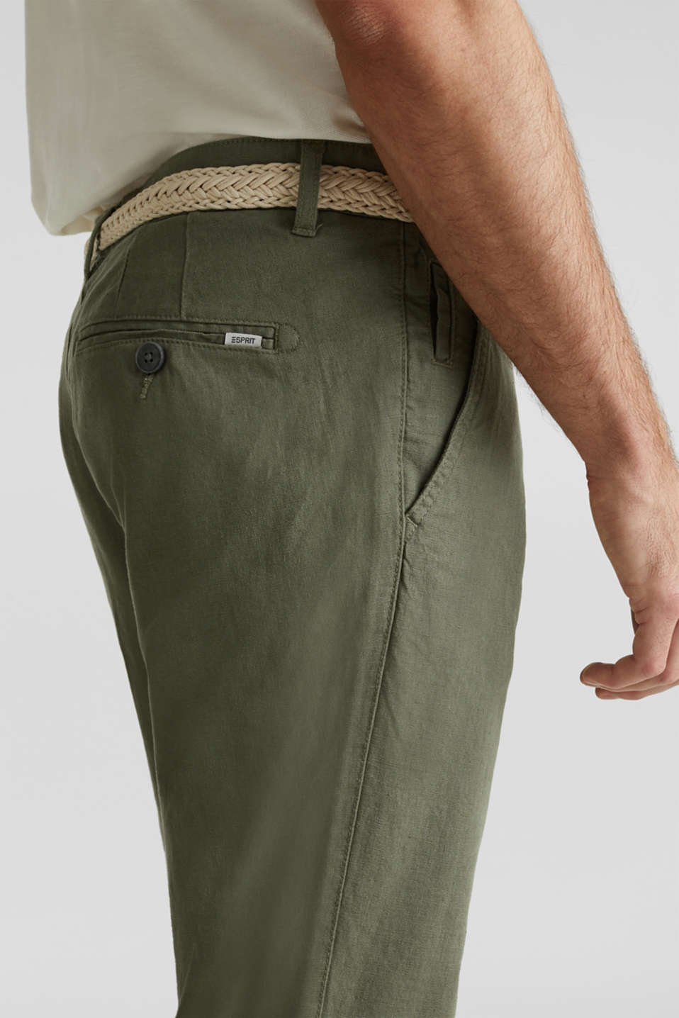 Linen blend: trousers with belt, DUSTY GREEN, detail image number 2