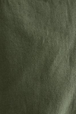 Linen blend: trousers with belt, DUSTY GREEN, detail