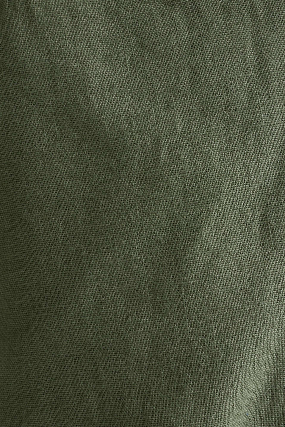Linen blend: trousers with belt, DUSTY GREEN, detail image number 4