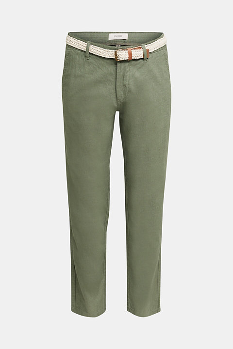 Linen blend: trousers with belt