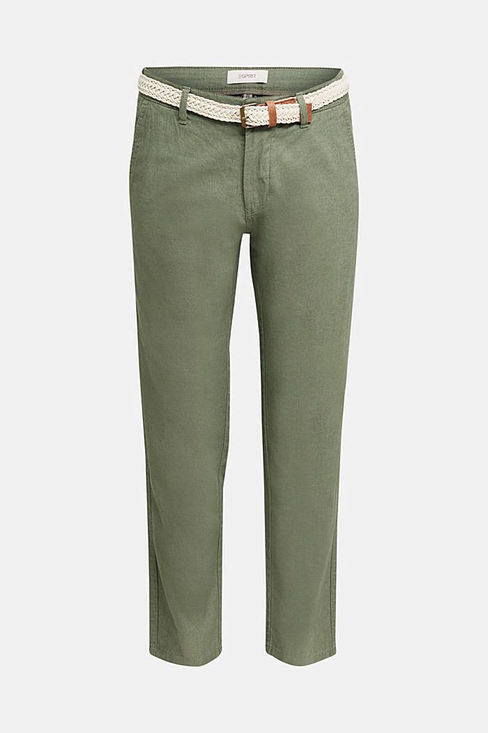 Linen blend: trousers with belt, DUSTY GREEN, detail image number 6