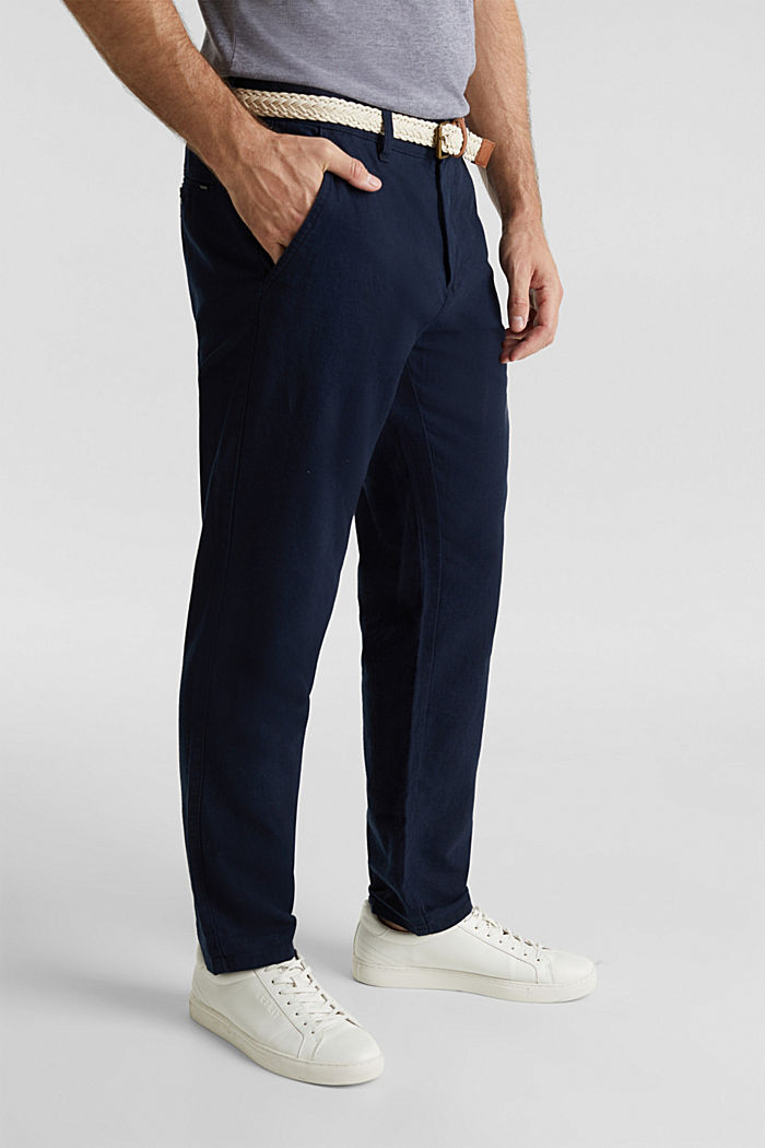 Linen blend: trousers with belt, NAVY, detail image number 0