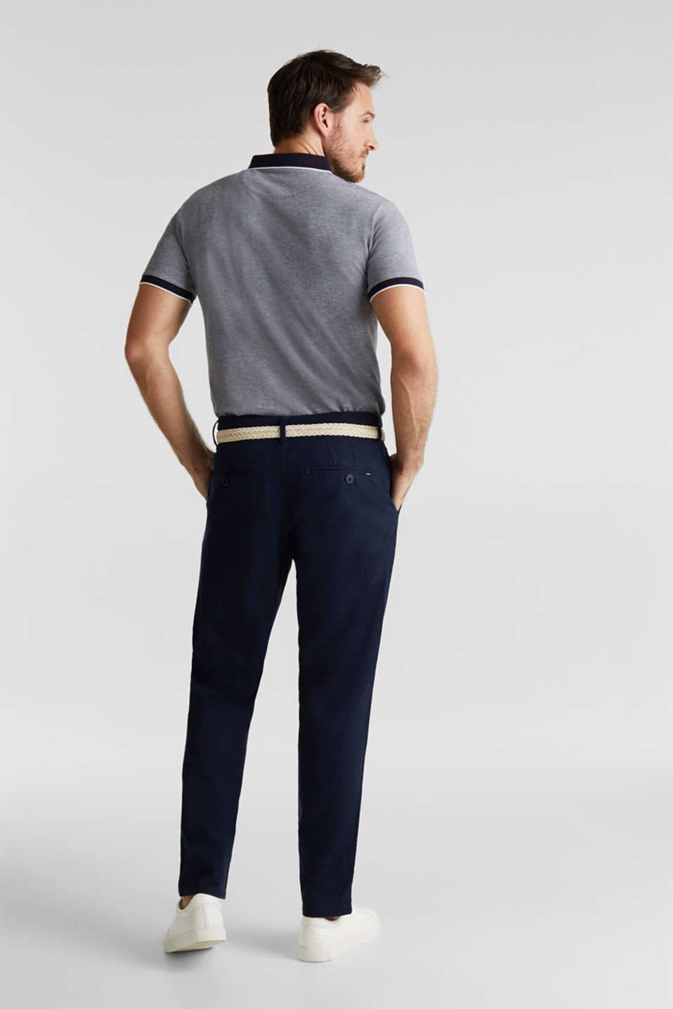 Linen blend: trousers with belt, NAVY, detail image number 2
