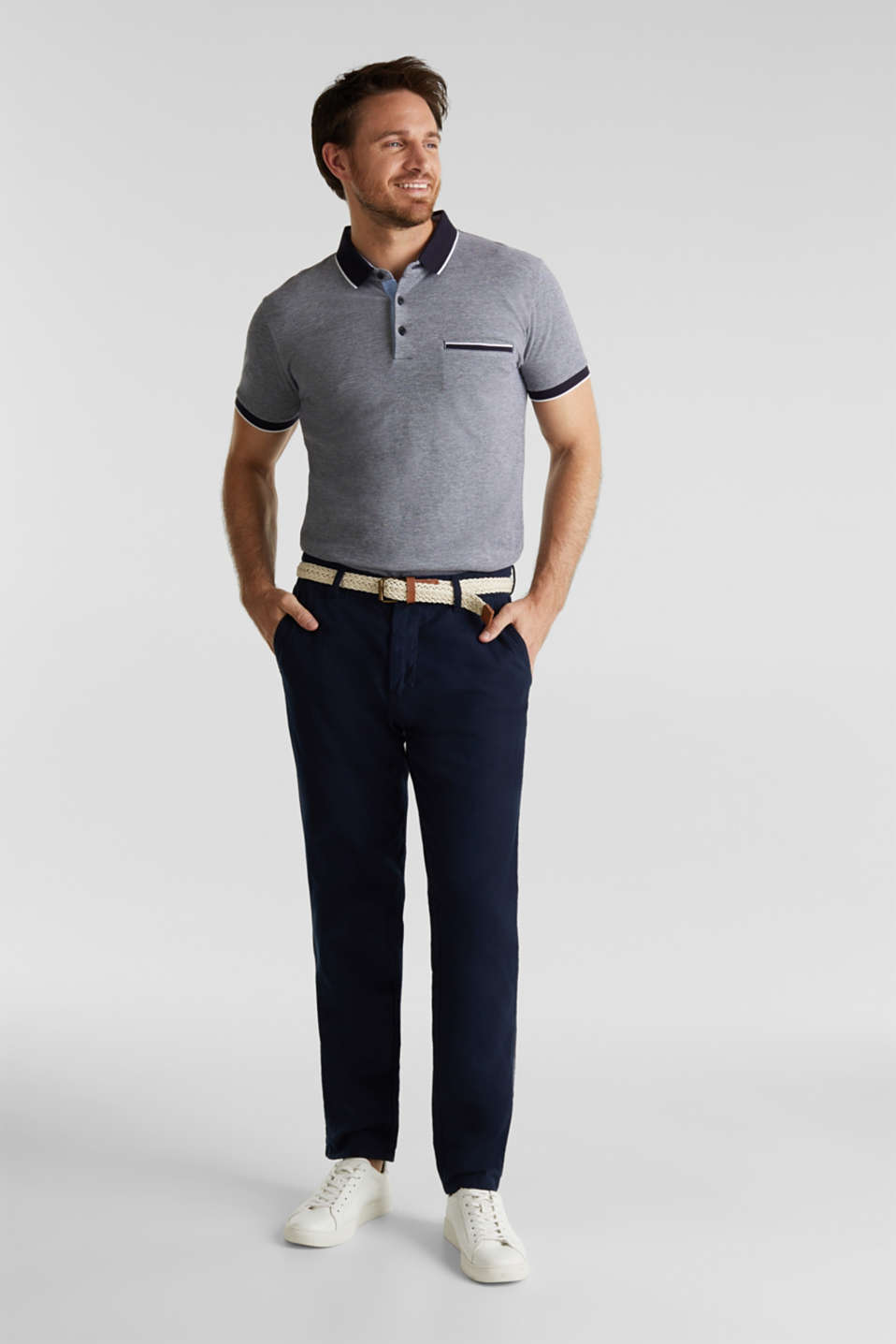 Linen blend: trousers with belt, NAVY, detail image number 1