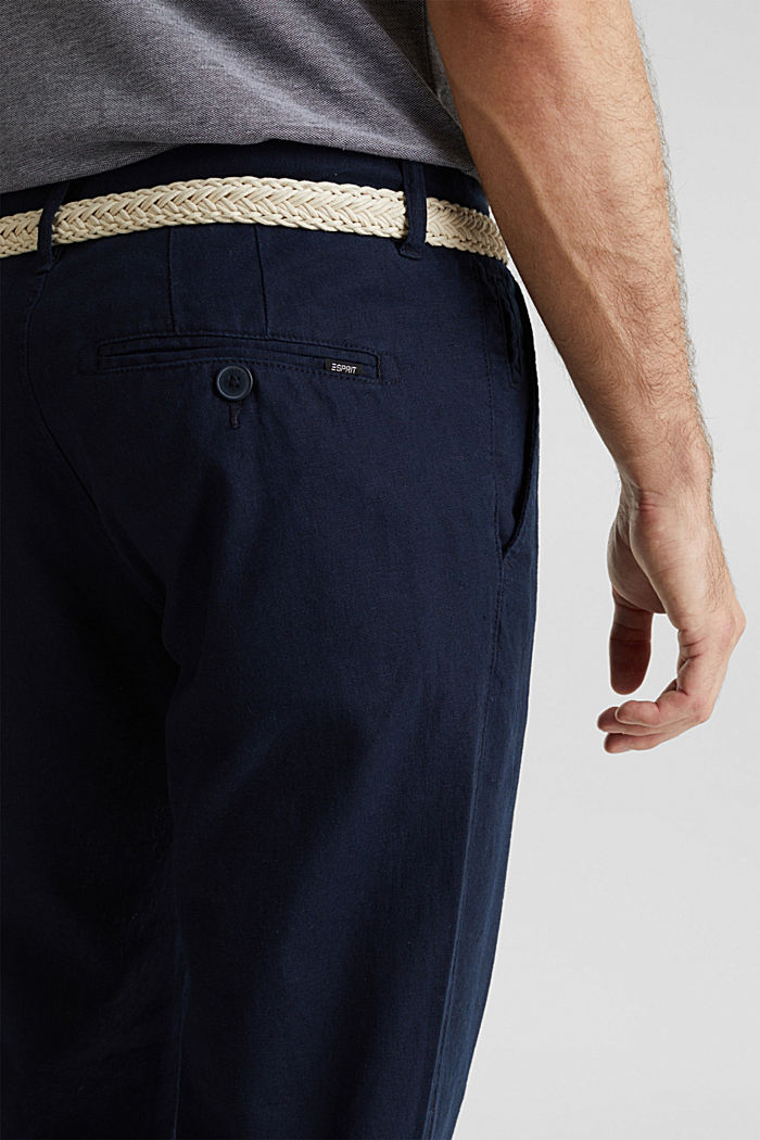 Linen blend: trousers with belt, NAVY, detail image number 4