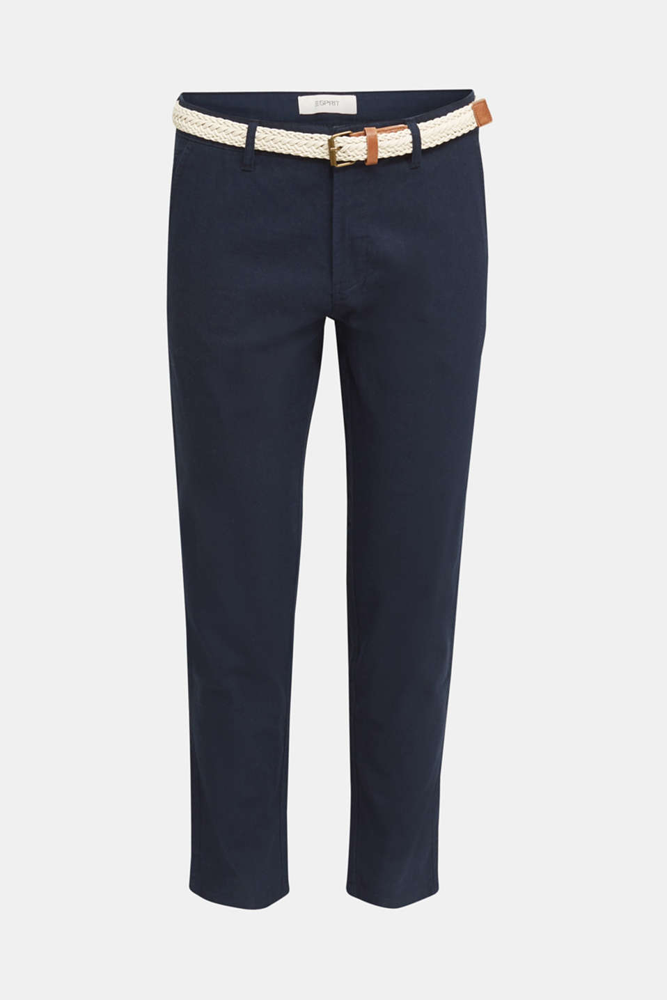 Linen blend: trousers with belt, NAVY, detail image number 5