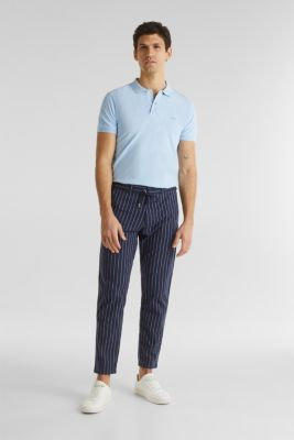 Chinos with organic cotton, DARK BLUE, detail