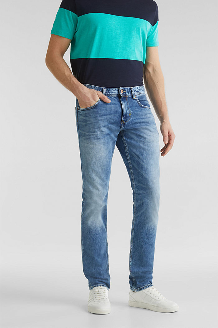 Premium jeans with whiskering, BLUE LIGHT WASHED, detail image number 0
