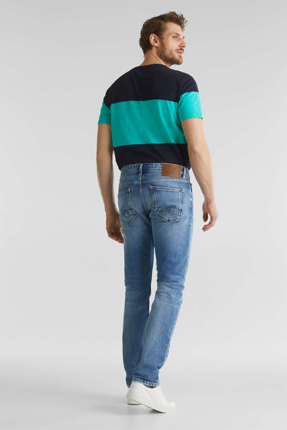 Premium jeans with whiskering, BLUE LIGHT WASH, detail image number 1