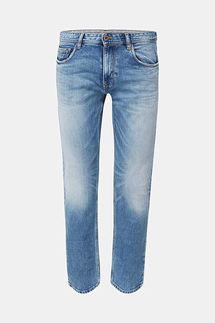 Premium jeans with whiskering, BLUE LIGHT WASHED, detail image number 7