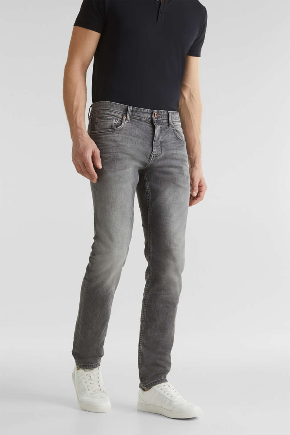 Premium jeans with whiskering, GREY LIGHT WASH, detail image number 0
