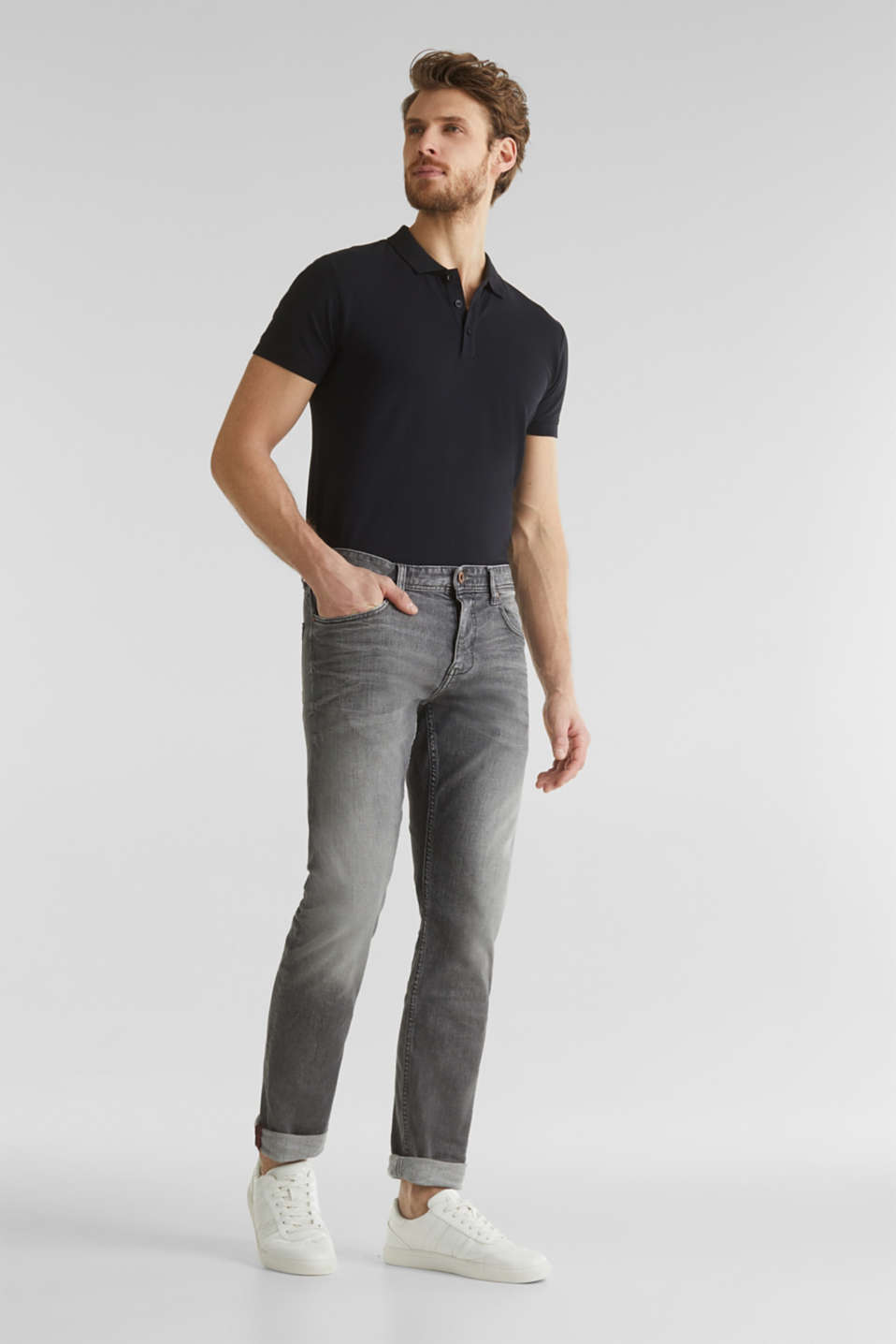 Premium jeans with whiskering, GREY LIGHT WASH, detail