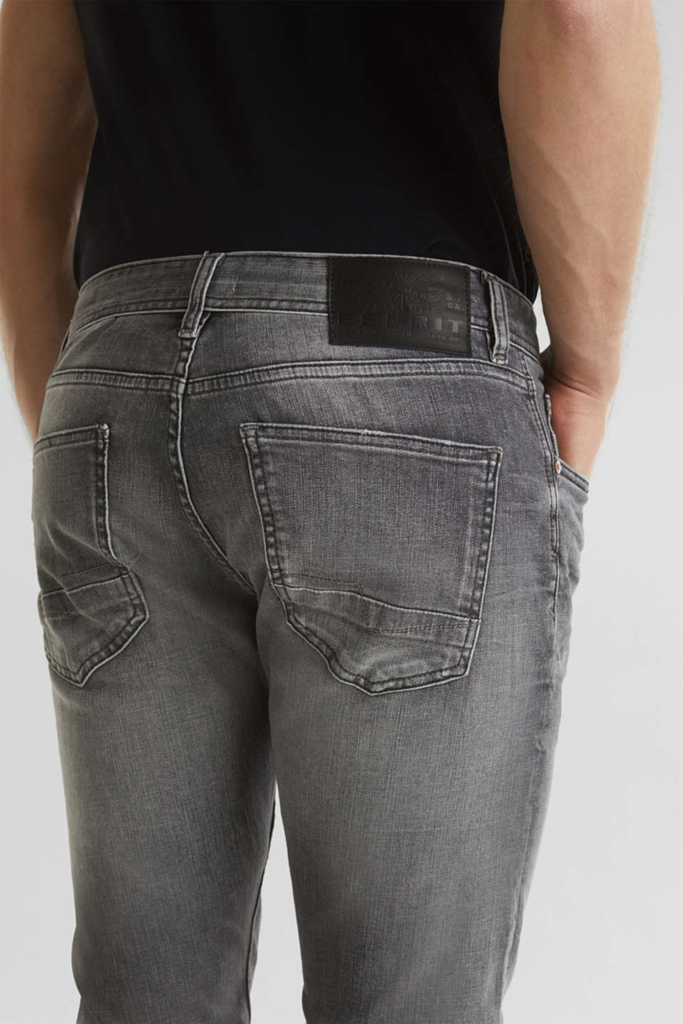 Premium jeans with whiskering, GREY LIGHT WASH, detail image number 6