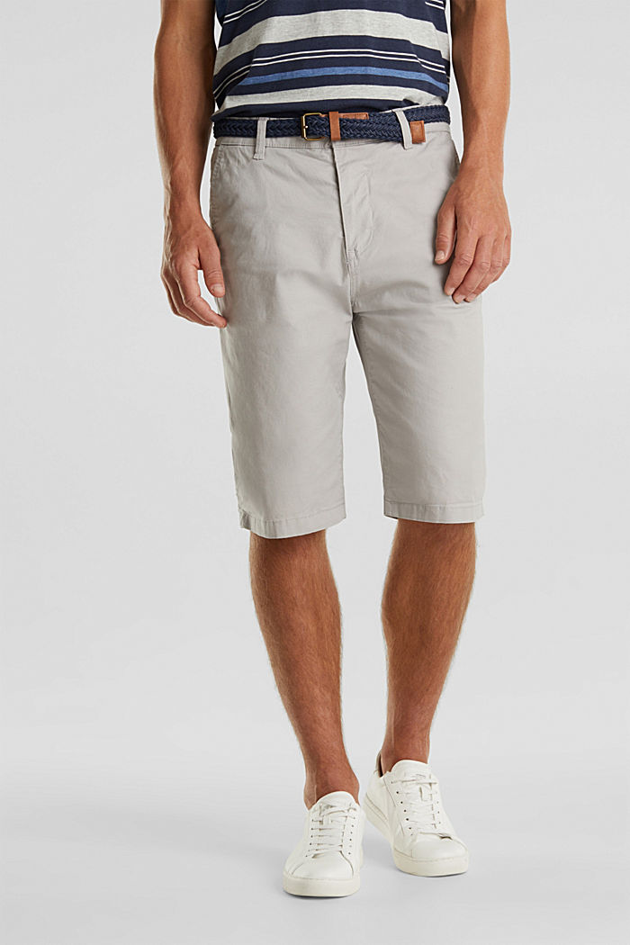 Stretch cotton shorts with a belt, LIGHT GREY, detail image number 0