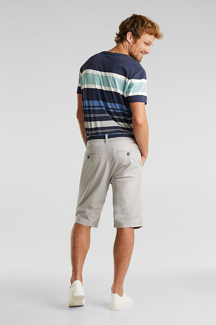 Stretch cotton shorts with a belt, LIGHT GREY, detail image number 2