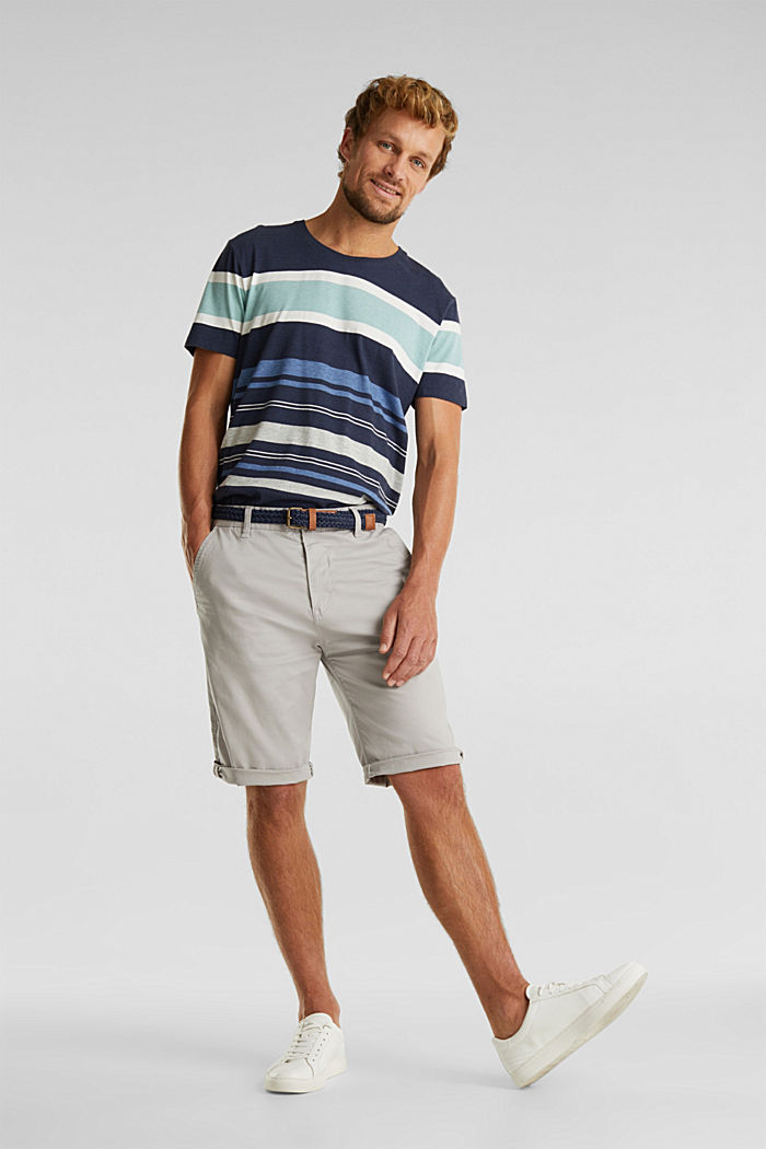 Stretch cotton shorts with a belt, LIGHT GREY, detail image number 1