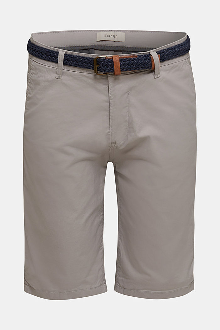 Stretch cotton shorts with a belt, LIGHT GREY, detail image number 4