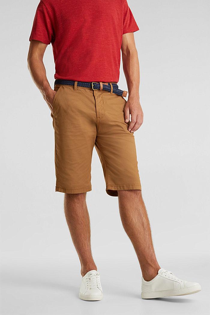 Shorts in cotone elasticizzato con cintura, CAMEL, detail image number 0