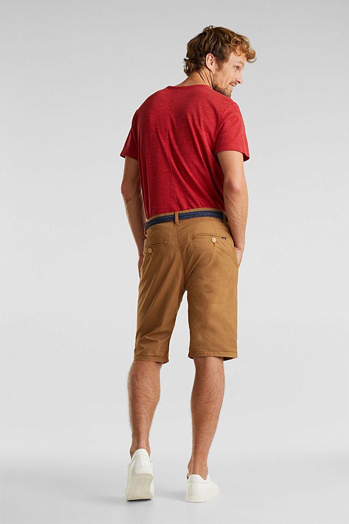 Shorts in cotone elasticizzato con cintura, CAMEL, detail image number 3