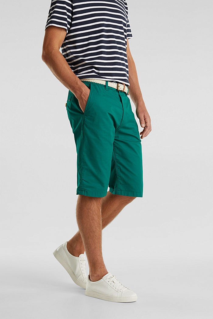 Stretch cotton shorts with a belt, GREEN, detail image number 0