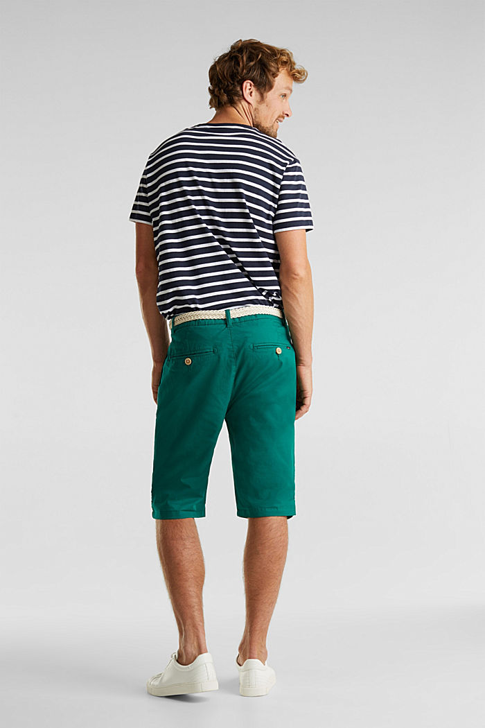 Stretch cotton shorts with a belt, GREEN, detail image number 2