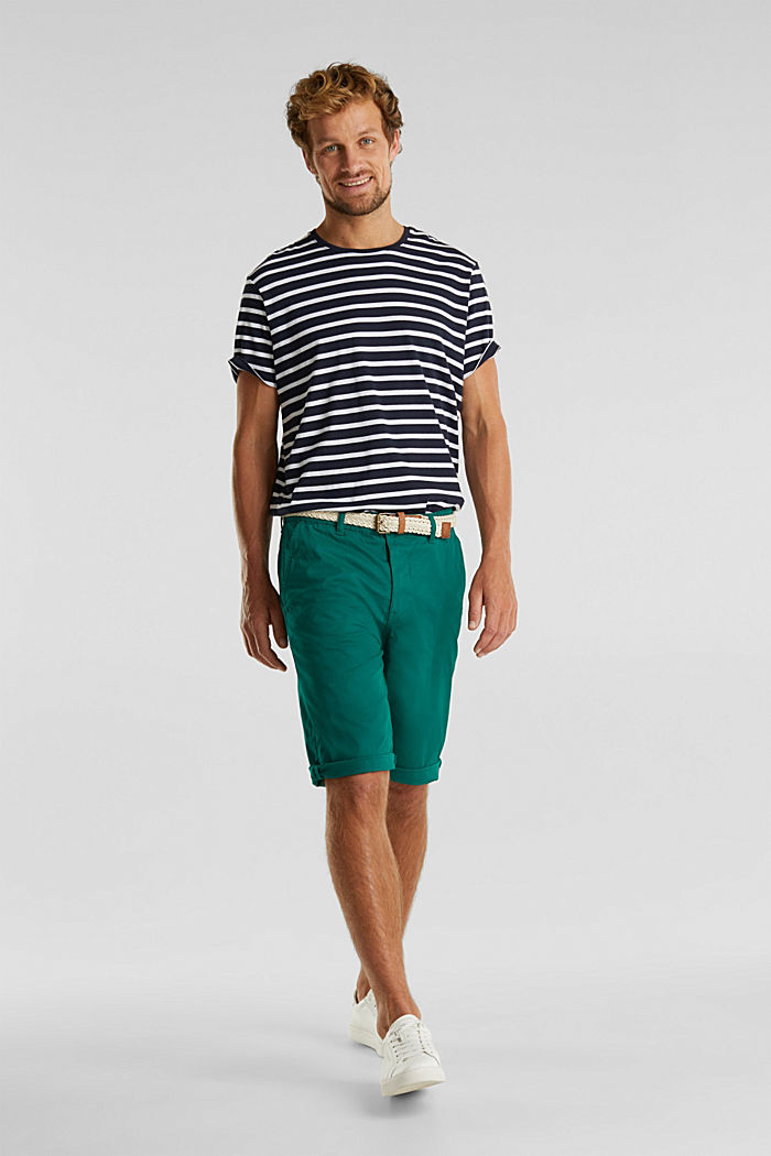 Stretch cotton shorts with a belt, GREEN, detail image number 1