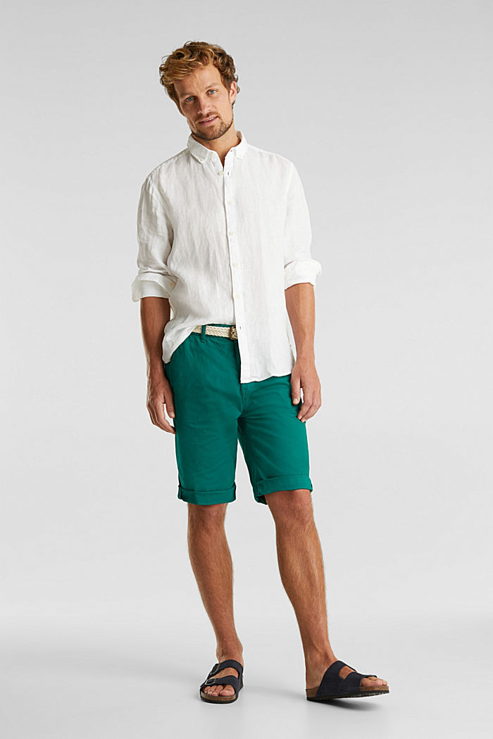 Stretch cotton shorts with a belt, GREEN, detail image number 4