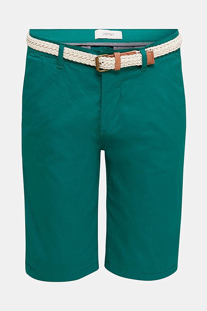 Shorts i bomullsstretch med skärp