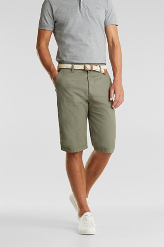 Stretch cotton shorts with a belt