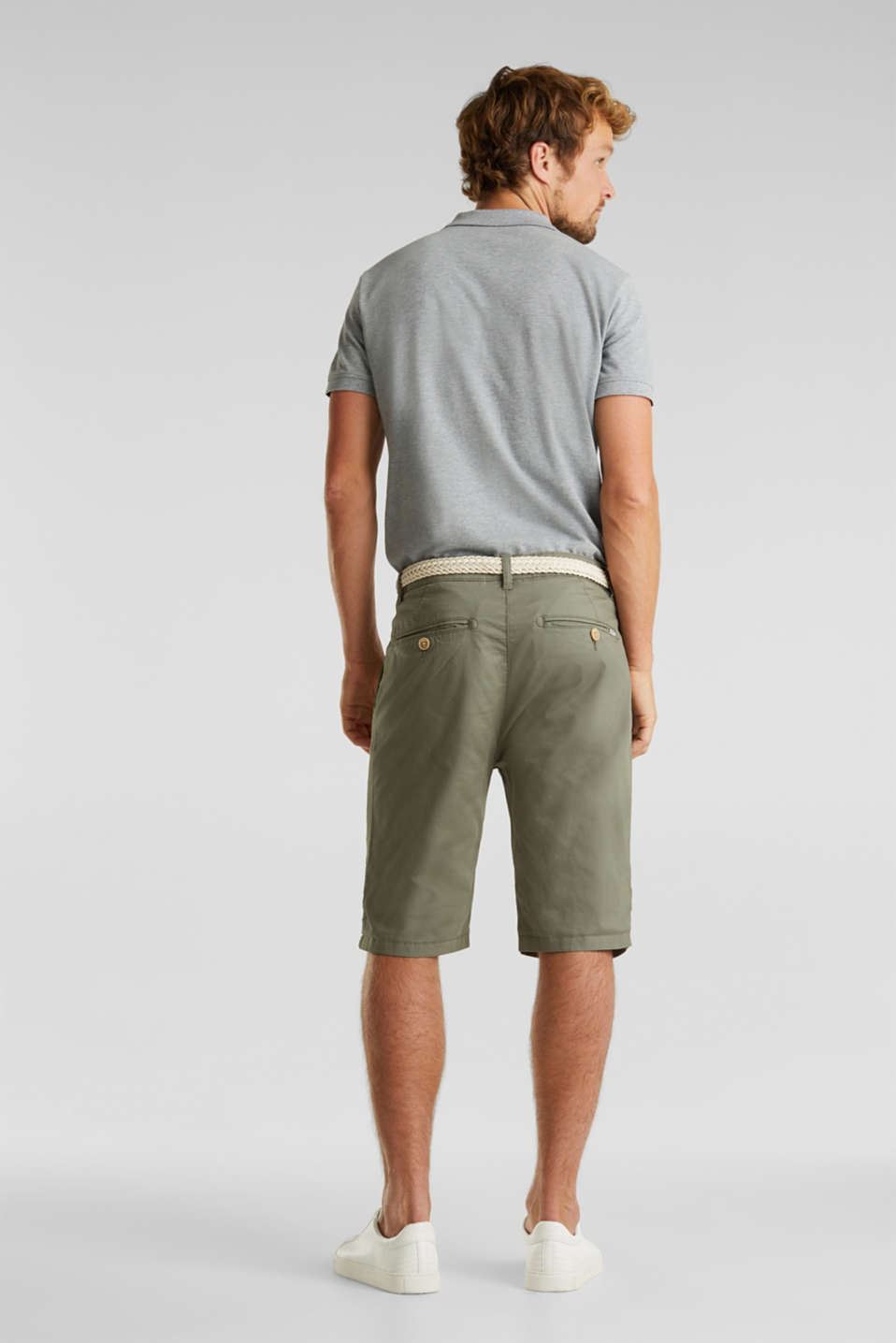 Stretch cotton shorts with a belt, DUSTY GREEN, detail image number 3