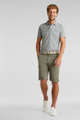 Stretch cotton shorts with a belt, DUSTY GREEN, detail