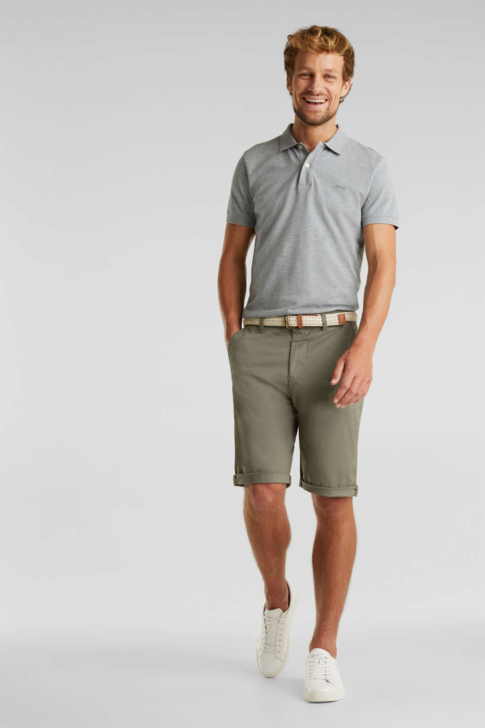 Stretch cotton shorts with a belt, DUSTY GREEN, detail image number 1