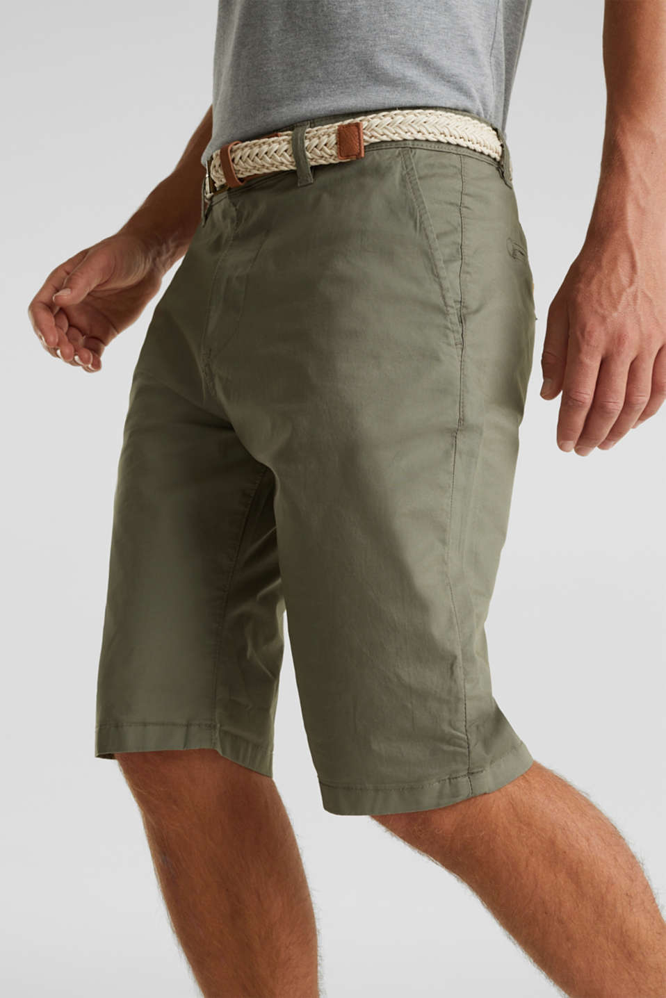 Stretch cotton shorts with a belt, DUSTY GREEN, detail image number 2