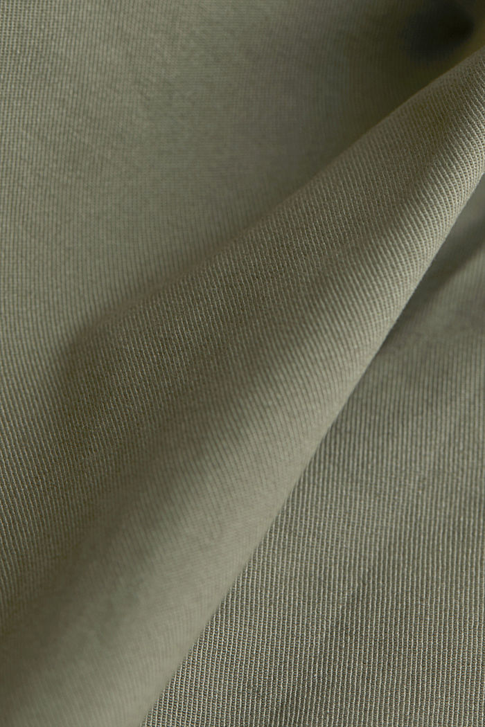 Stretch cotton shorts with a belt, DUSTY GREEN, detail image number 4