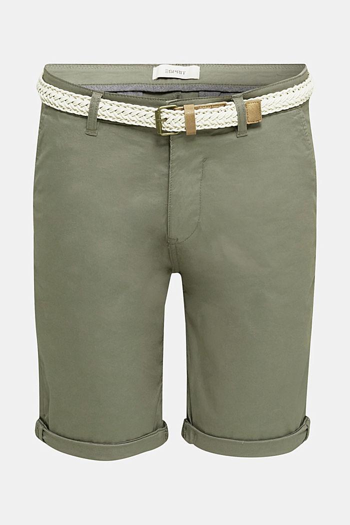 Baumwoll-Stretch-Shorts mit Gürtel