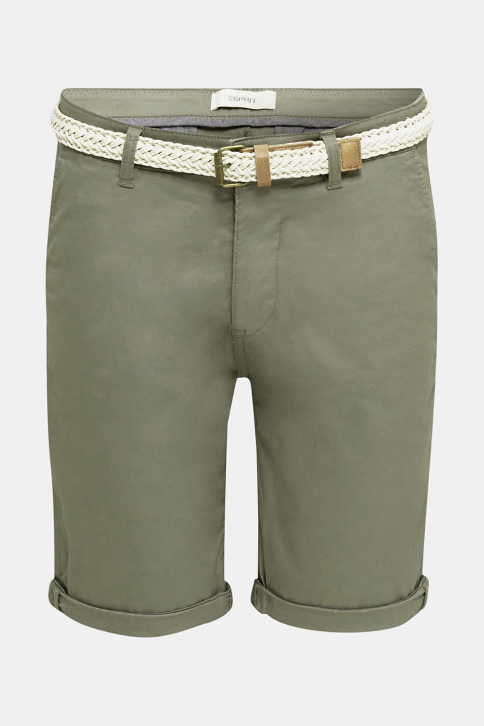 Stretch cotton shorts with a belt, DUSTY GREEN, detail image number 5