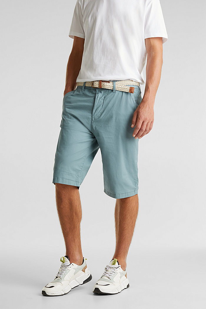 Stretch cotton shorts with a belt, TEAL GREEN, detail image number 0